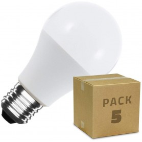 Pack 5 unidades Bombillas LED E27 A60 6W 9W Bombilla LED de alto brillo