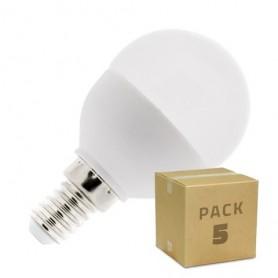 Pack 5 unidades Bombillas LED E14 G45 5W blanco cálido neutro frío rango 2700K-6500K