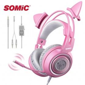 Auriculares con orejas de gato rosa con cable para Gaming
