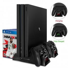 Soporte de refrigeración Vertical para consola PS4/PS4 Slim/PS4 Pro, cargador doble para mandos
