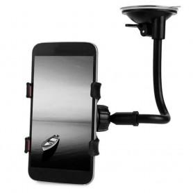 OcioDual Soporte Pinza para Coche de Ventosa con Brazo Universal Smartphone Negro Parabrisas 360º Movil Luna GPS Holder