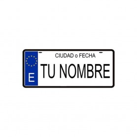 Placa Matricula 100% Personalizada, Decorativa, Tu Nombre, Fecha, Ciudad o Diseño, 14x6 cm de Metal