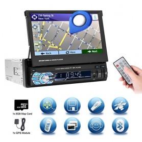 """Radio Bluetooth, 1DIN, pantalla táctil retráctil HD de 7 """", MP5, SD, FM, reproductor USB, cámara de visión trasera"""