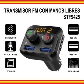 Transmisor FM Coche Bluetooth Manos Libres USB MP3 Cargador 3.4A Lector MicroSD Sonido Extra Bass 12v 24v
