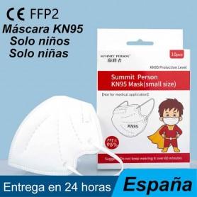 Mascarilla protectora KN95 para niños y niñas, cubrebocas de protección facial para la boca, envío en 24 horas, CE FFP2 KN95