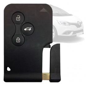 Carcasa Llave Tarjeta Plana 3 Botones Sin Electrónica Negra para Coche Renault Clio Megane Scenic