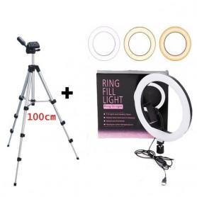 Anillo de Luz Colores con Soporte para Movil 1m/2.1m, RGB Luz, Plegable Trípode Kit Ajustable 360 Selfie Light
