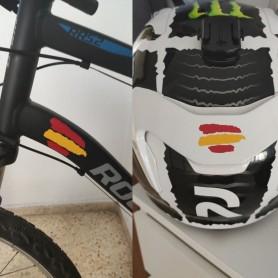 x8 Pack Vinilo adhesivo Bandera España para casco, bici, moto, coche, bicicleta  (2 MEDIDAS)