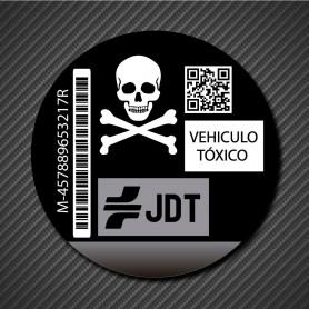 Vinilo adhesivo distintivo ambiental VEHICULO TOXICO CALAVERA PIRATA  para cristal coche (pegado invertido)