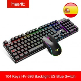 Teclado de gaming mecánico y ratón Combo Blue Switch, dispositivo 104 teclas multicolor retroiluminado, 4800DPI de 7 boton