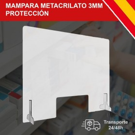 Mampara de Protección Metacrilato Transparante 3MM Grosor con Soporte