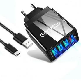 Cargador de carga rápida para móvil con conexión USB 4 salidas 3.0 con cable tipo C o micro USB