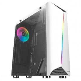 Mars Gaming MCX, Caja PC Gamer, Semitorre ATX, Ventana Lateral Cristal Templado, Caja Ordenador con Ventilador RGB DUAL RING