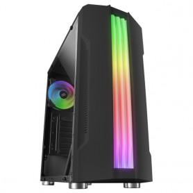 Mars Gaming MCK, Caja PC, Semitorre,  Triple Franja LED, Cristal Templado, 1x Ventilador RGB 120mm