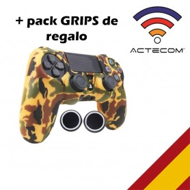 Funda Carcasa + Grip Silicona Camuflaje Marron marco Sony PS4 Playstation 4