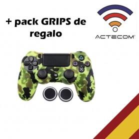 Funda para mando + agarre de Silicona, Camuflaje Amarillo, Mando Sony PS4, Playstation 4