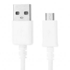 Cable USB 2.0 a Micro USB Conector 6mm , Uso Principal en moviles y camaras Digitales, Tipo A/M-Micro B/M Blanco 1m