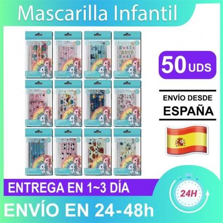 50x Mascarilla Niños 3 Capas de Alta Calidad 3~5 Diseños Aleatorios