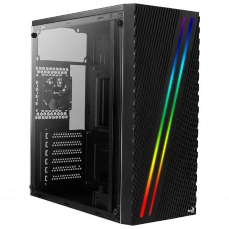 Aerocool Streak, Caja de PC ATX, RGB 18 Modos, Panel Lateral, Ventilador 80mm