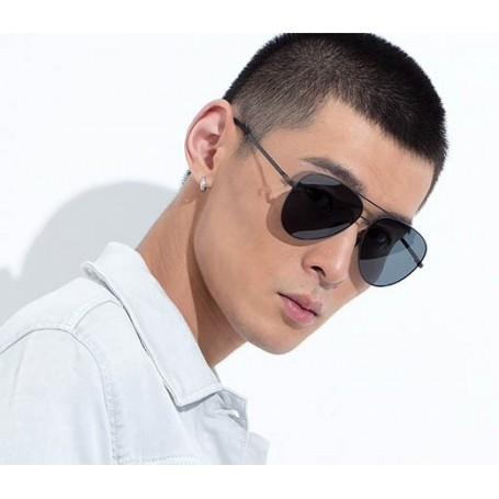 Xiaomi gafas de sol polarizadas TS, marca Mijia, gafas espejo de vidrio UV400, negras, aviador, montura acero inoxidable, funda