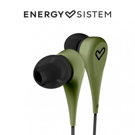 Energy Sistem Earphones Style 1(Auriculares intrauditivos,In-ear,cómodos, ligeros,Acabado Rubber,Cable plano 120cm,)Blanco,Verde