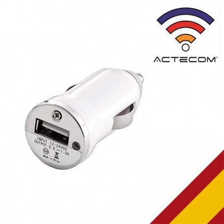 ACTECOM-CARGADOR USB PARA teléfonos móviles, USB, mecánico, BLANCO, GPS, tablets