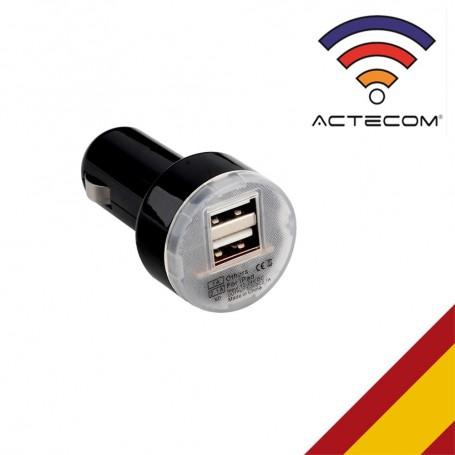 ACTECOM CARGADOR COCHE DOBLE USB MECHERO NEGRO PARA SMARTPHONES MOVILES GPS TABLETAS