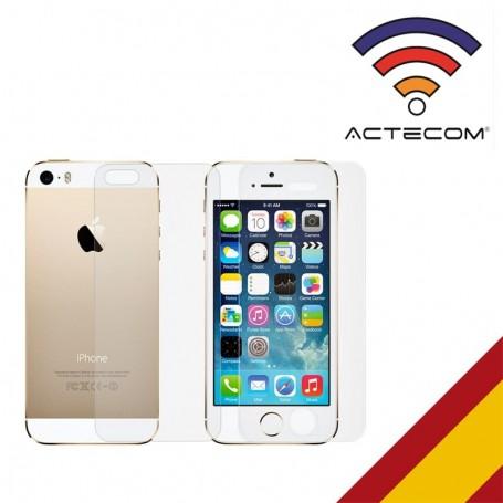 ACTECOM-CRISTAL TEMPLADO DOBLE 0,2 MM 9H 2.5D PARA IPHONE SE, 5 Y 5S DEL Y TRASERO