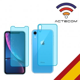 "ACTECOM CRISTAL TEMPLADO DOBLE 0,2 MM 9 H 2.5D PARA IPHONE XR 6,1 ""DELANTERO Y TRASERO"