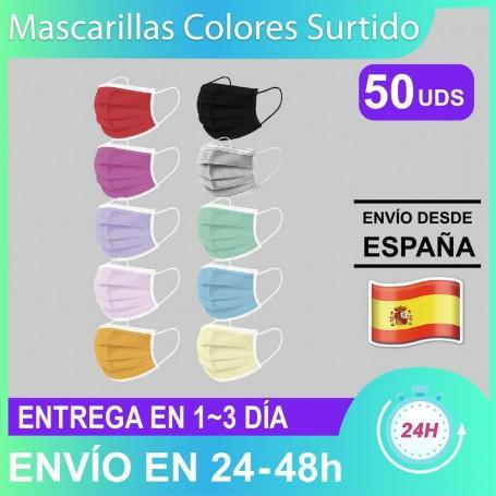 Mascarillas Colores 3 Capas de Alta Calidad - 10 Colores, 5 Uds cada Color, para Uso Diario y Trabajo Envío Rápido Desde España