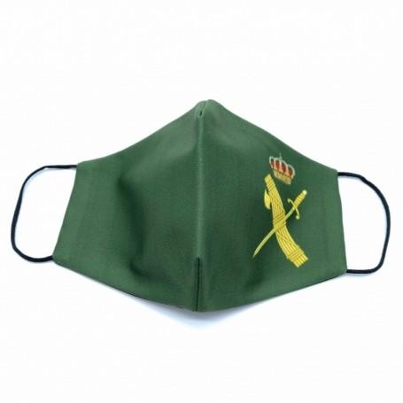 Mascarilla de la Guardia Civil de color verde de tela para adulto, mascarilla reutilizable y lavable para introducir filtro