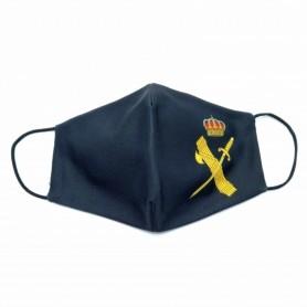 Mascarilla para adulto de color negro con el diseño de Guardia Civil, facial de tela con apertura para filtro lavable