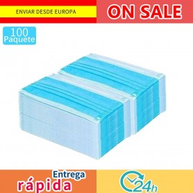 100 pcs Mascarilla desechable no tejida 3 capas capa filtro
