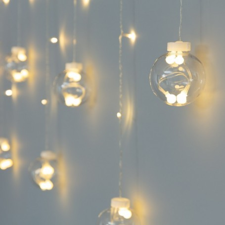 TECHBREY Guirnalda de Bolas Colgantes LED 3.6W luces de hadas para decoración de navidad, bodas al aire libre blanco cálido