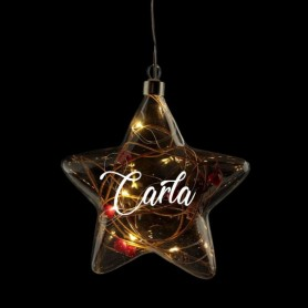 Estrella de vidrio led navidad personalizada