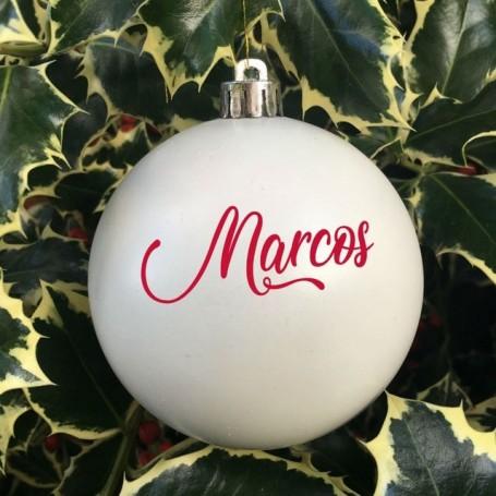 Bola Navidad personalizada blanca 8 cm