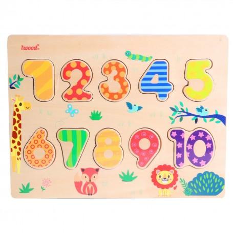 Puzzle de Números de Madera (juego educativo para bebes y para niños, montessori, puzle 3D números, puzle colores)
