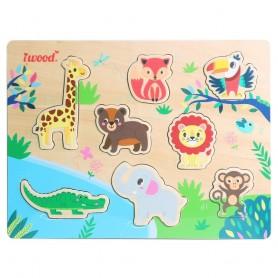 Puzzle de Animales Jungla de Madera ( juego educativo para bebes, montessori, puzle 3D animales, puzle animales )