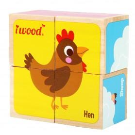 Puzzle 4 cubos de Madera Animales de la Granja  ( juego educativo,  rompecabezas de cubos bebé, rompecabezas animales )