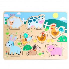 Puzzle de Animales Granja de Madera ( juego educativo para bebes, montessori, puzzle 3D animales, puzle animales )