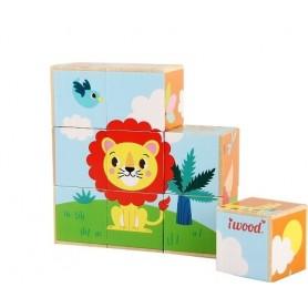 Puzzle 9 cubos de Madera Animales de la Selva  ( juego educativo,  rompecabezas de cubos bebé, rompecabezas animales )