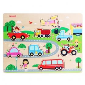 Puzzle de Vehículos de Madera (juego educativo para bebes, coches camión tractor)