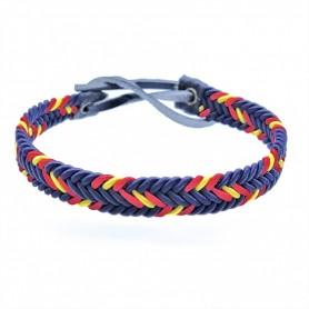 Pulsera trenzada de cuerda con fondo azul marino y la bandera de España para mujer y hombre