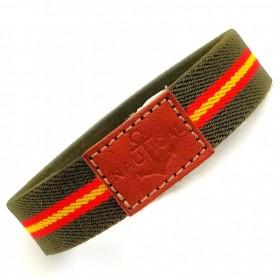 Pulsera elástica color verde militar de la Guardia Civil y bandera de España. Brazalete de amistad de cuerda para hombre y mujer