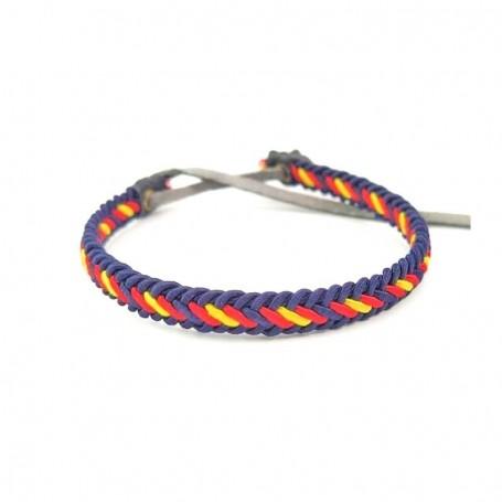 Pulsera de bandera de españa para hombre y mujer ajustable artesanal azul