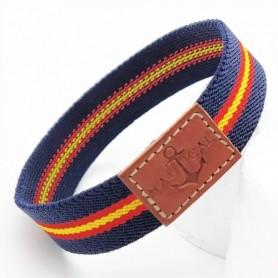 Pulsera elástica con la bandera de España, brazalete de tela de hilo y cuerda de amistad y un divertido regalo.
