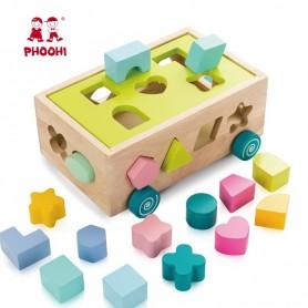 Juguetes de bloques de madera para niños, juguete educativo de puzle para bebés