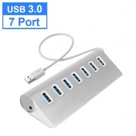 Adaptador de corriente de alta velocidad USB 3,0 HUB 4/7, puerto de aluminio de 5Gbps
